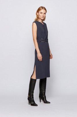 Crinkle-crepe dress with asymmetric shoulder detail, Light Blue