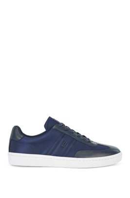 Leather-faced trainers with metallic logo trim, Dark Blue