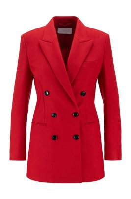 Double-breasted regular-fit long jacket with peak lapels, Red
