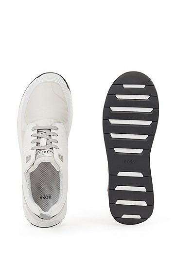 粒面皮革加提花梭织面料混合运动鞋,  120_淡白色