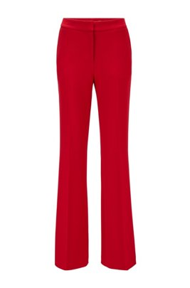 Flared regular-fit trousers with high-rise waist, Red