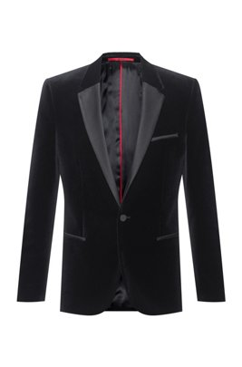 Extra-slim-fit evening jacket in cotton velvet, Black