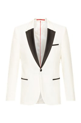 Extra-slim-fit evening jacket in cotton velvet, White