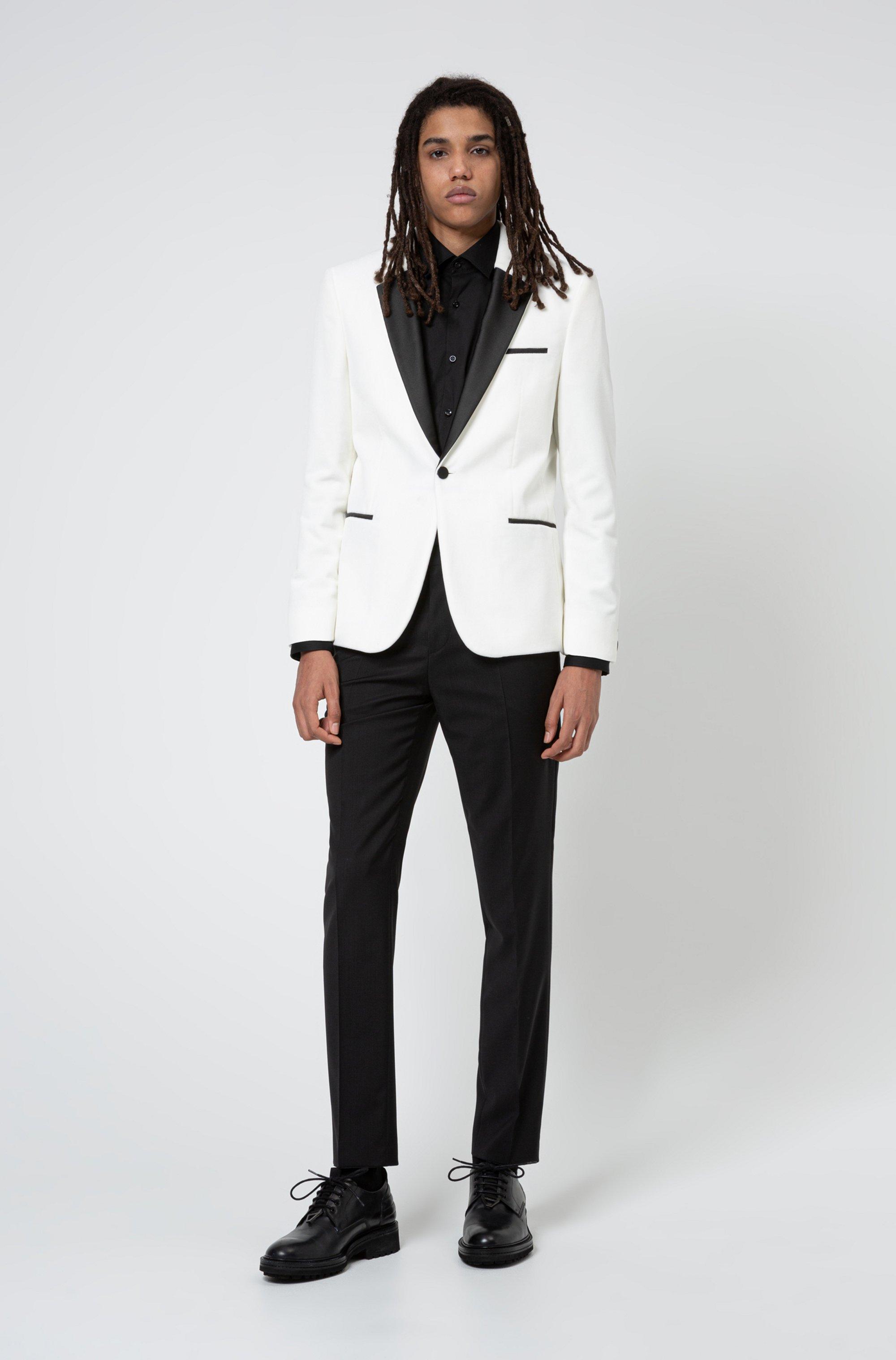 Extra-slim-fit evening jacket in cotton velvet