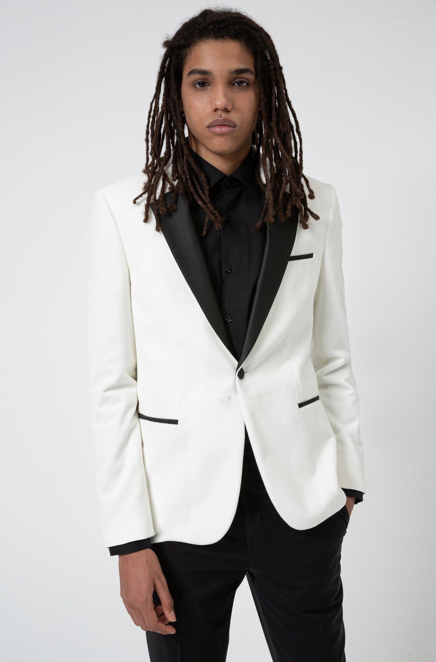 Extra-slim-fit evening jacket in cotton velvet, White
