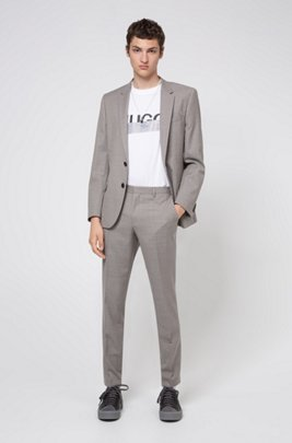 Slim-fit suit in virgin wool with micro pattern, Light Brown