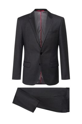 Slim-fit suit in stretch virgin wool, Dark Grey
