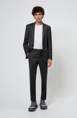 Slim-fit suit in stretch virgin wool, Dark Grey