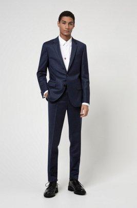 Costume Slim Fit en laine vierge stretch, Bleu foncé