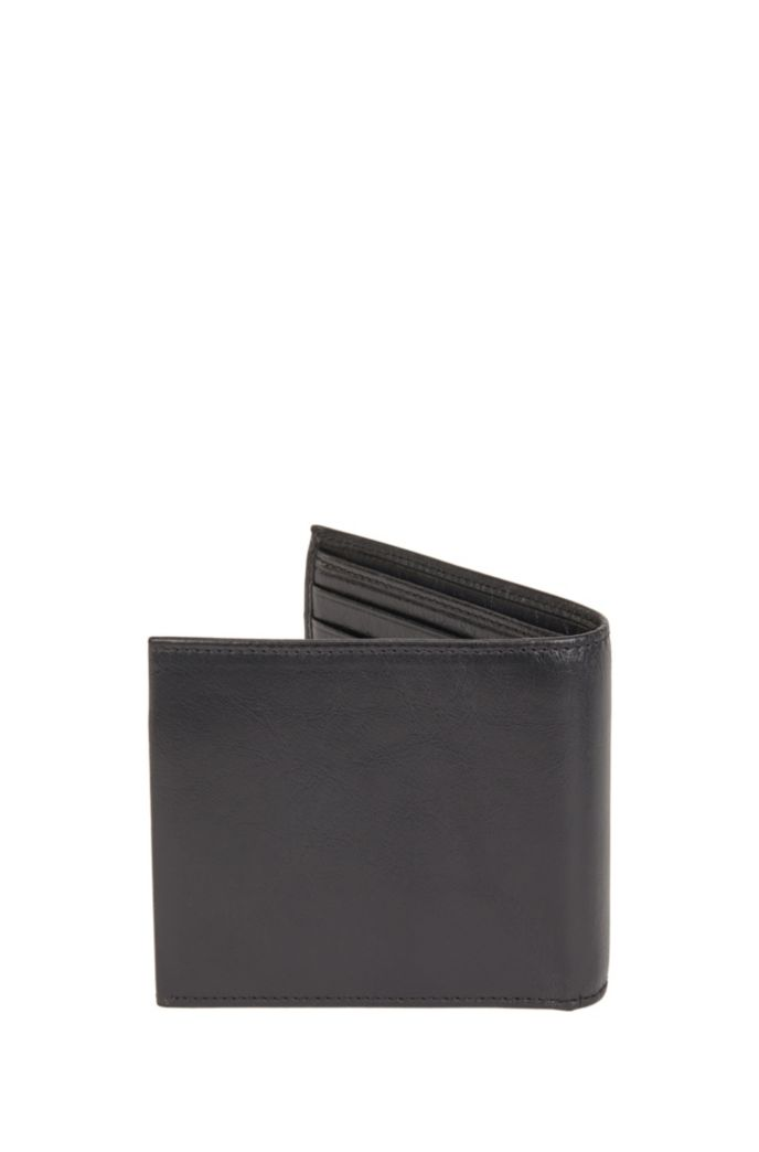 Matte Italian-leather billfold wallet with coin pocket