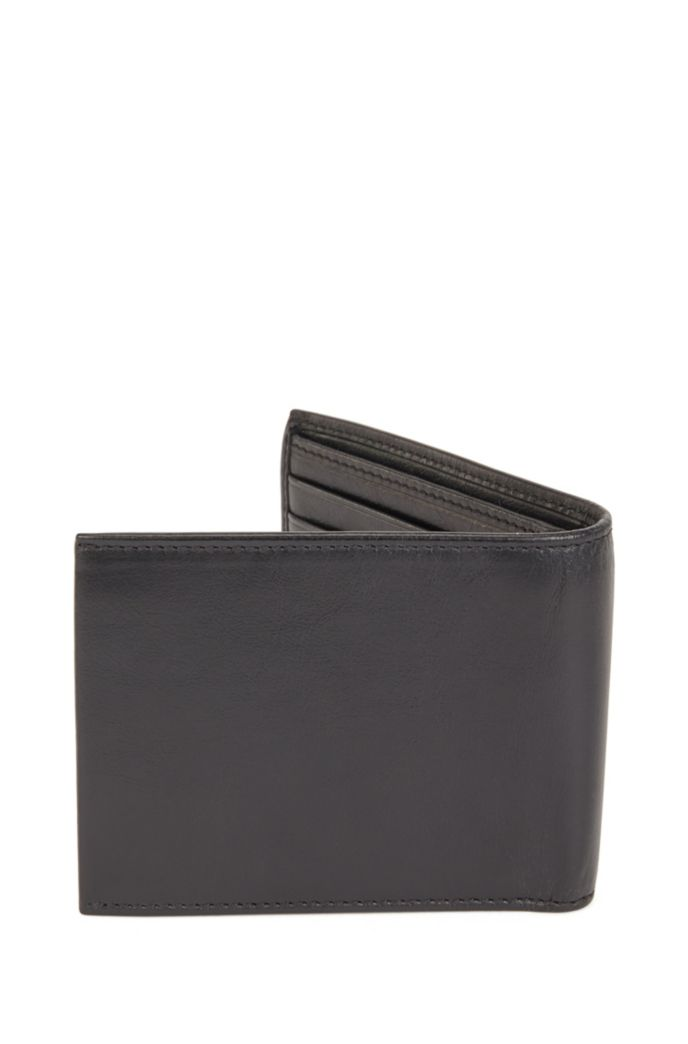 Matte Italian-leather billfold wallet with embossed logos