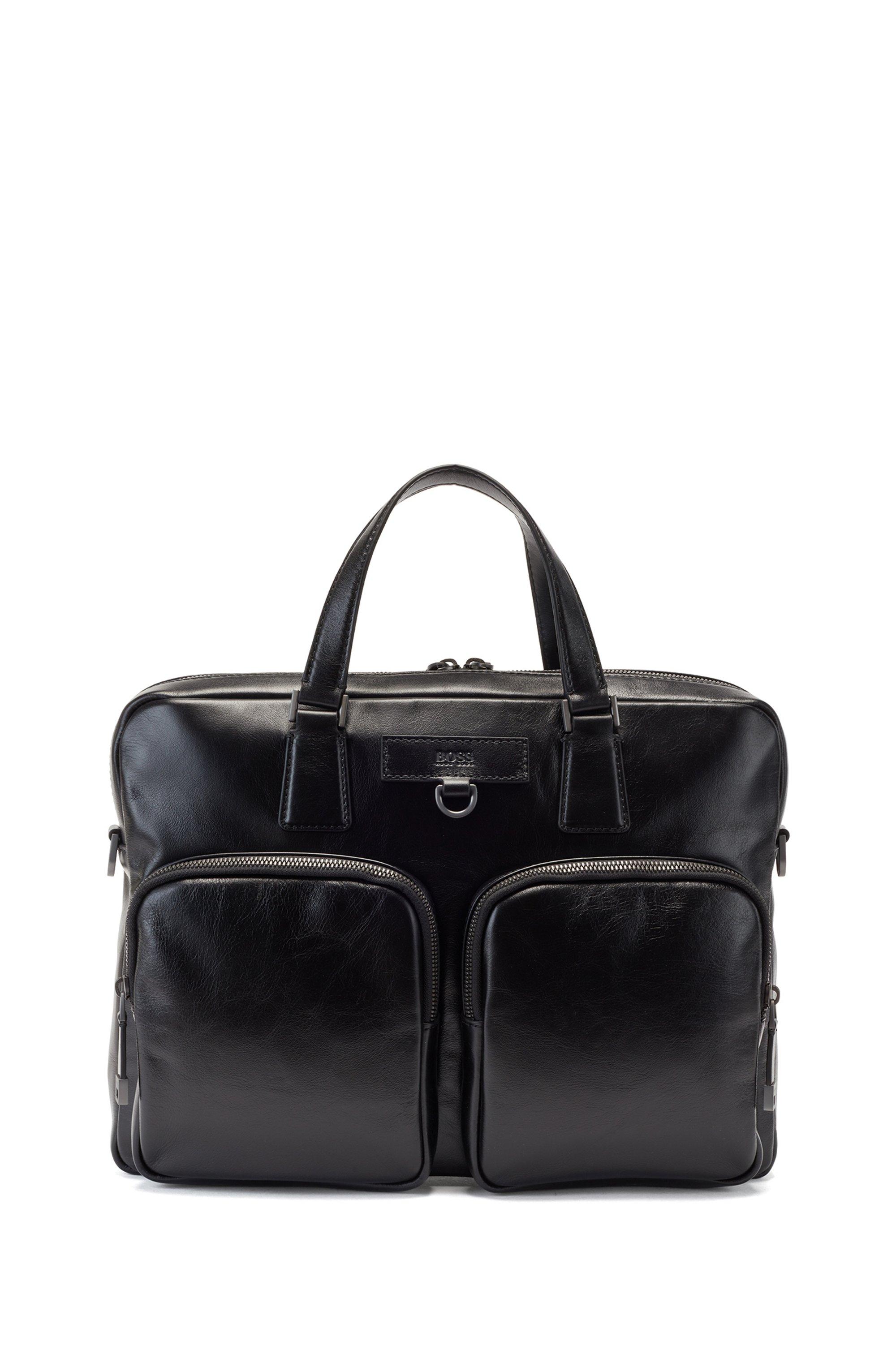 Porte-documents en cuir italien avec bandoulière à logo, Noir