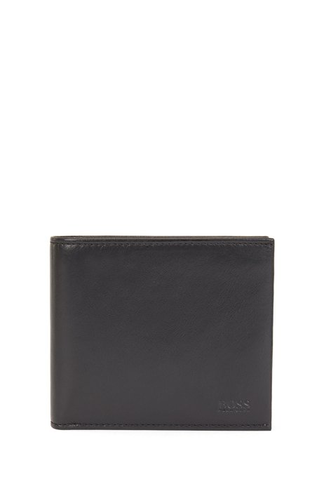 イタリアンマットレザー ビルフォールドウォレット 8カードスロット, ブラック