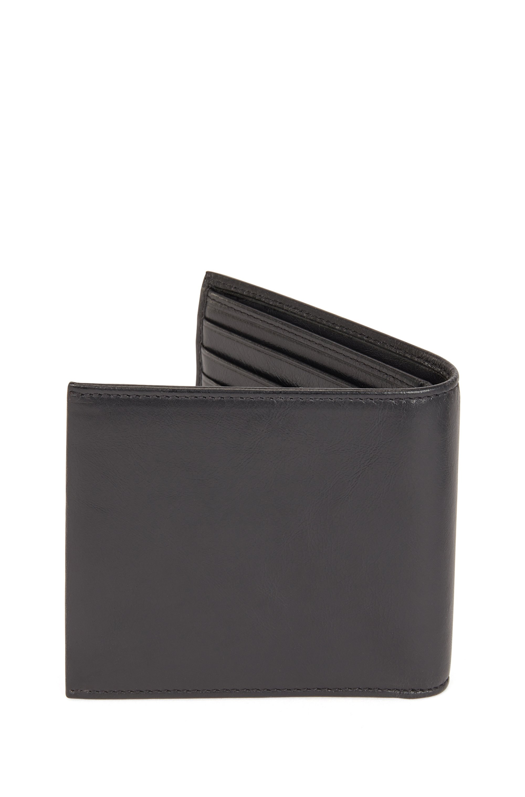 Matte Italian-leather billfold wallet with eight card slots