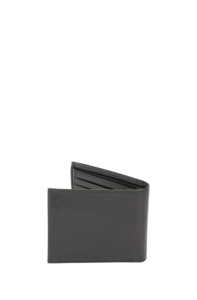 Italian-leather trifold wallet with embossed logo