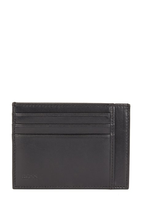 Matte Italian-leather card holder with embossed logo, Black