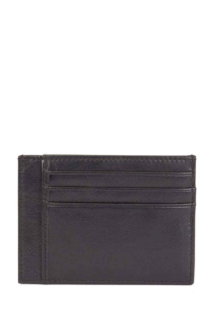 Matte Italian-leather card holder with embossed logo