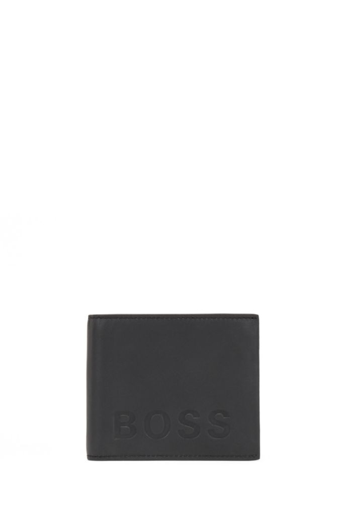 Logo-embossed leather wallet and card holder gift set