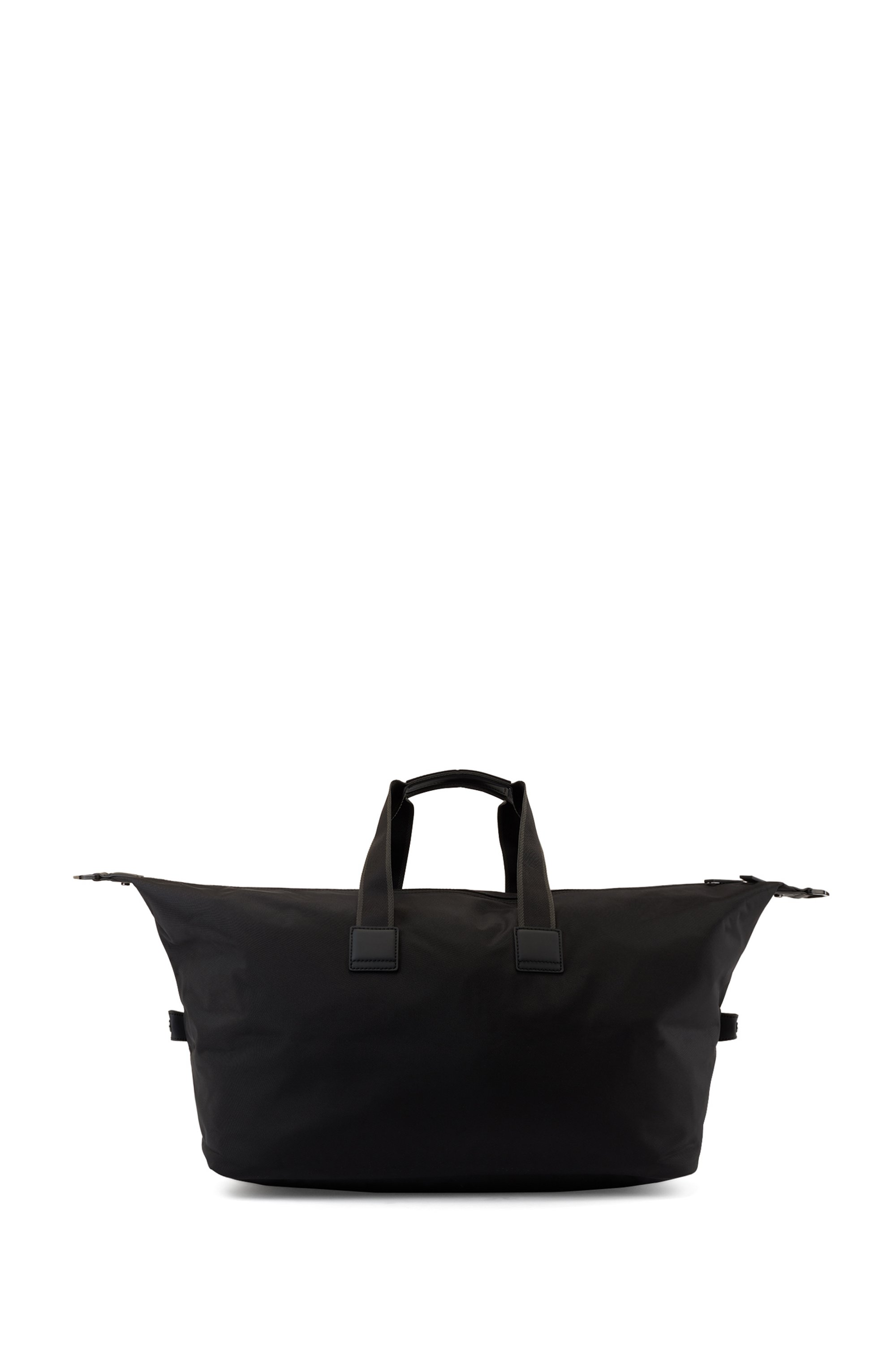 Zip-through holdall in structured nylon with logo print, Black