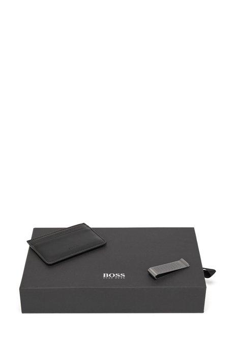 Monogrammed card holder and money clip gift set, Black