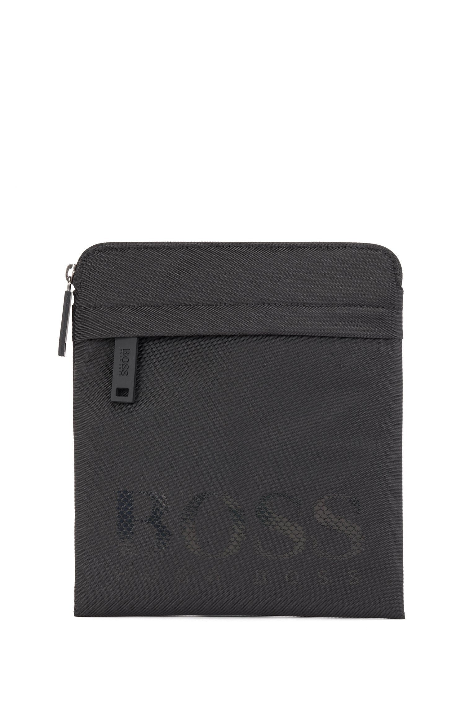 Envelope bag in structured nylon with tonal logo, Black