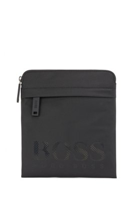 Envelope bag in structured nylon with tonal logo, Black