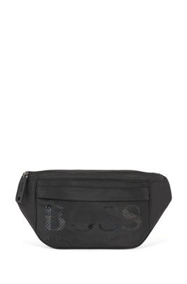 Belt bag in structured nylon with new-season logo, Black