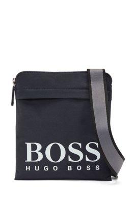 Envelope bag in structured nylon with logo print, Dark Blue