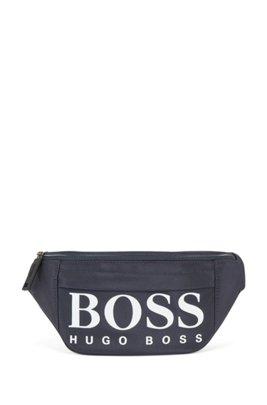 Structured nylon belt bag with contrast logo, Dark Blue