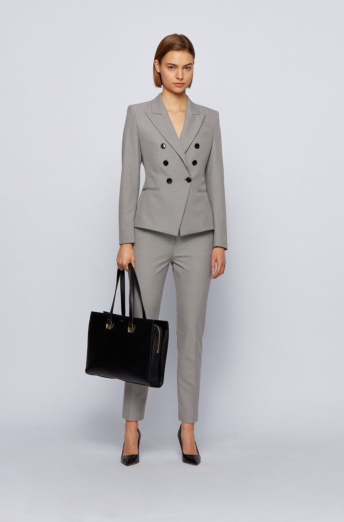 Slim-fit jacket in stretch fabric with micro houndstooth