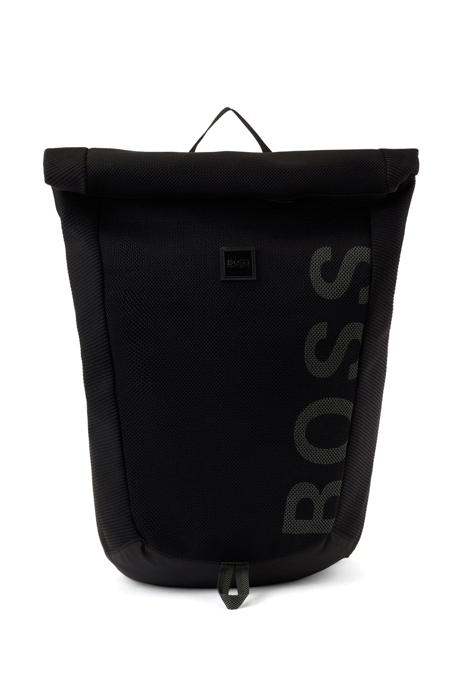 Zaino in tessuto riciclato con filati REPREVE® con logo, Nero