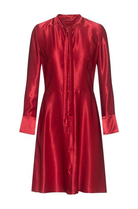 Vestido de manga larga de tejido brillante con lazo en el cuello, Rojo