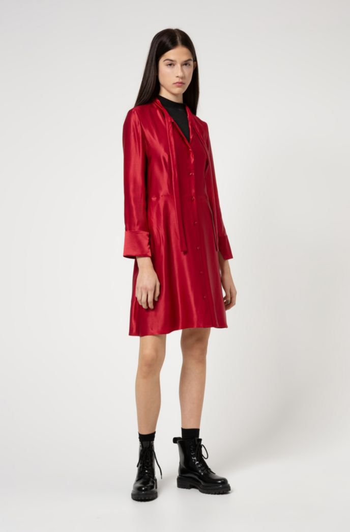 Long-sleeved tie-neck dress in lustrous fabric