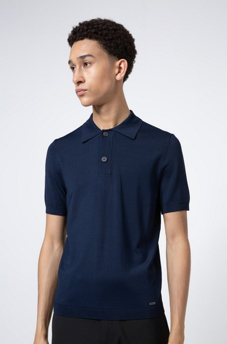 Slim-fit knitted sweater with polo collar, Dark Blue
