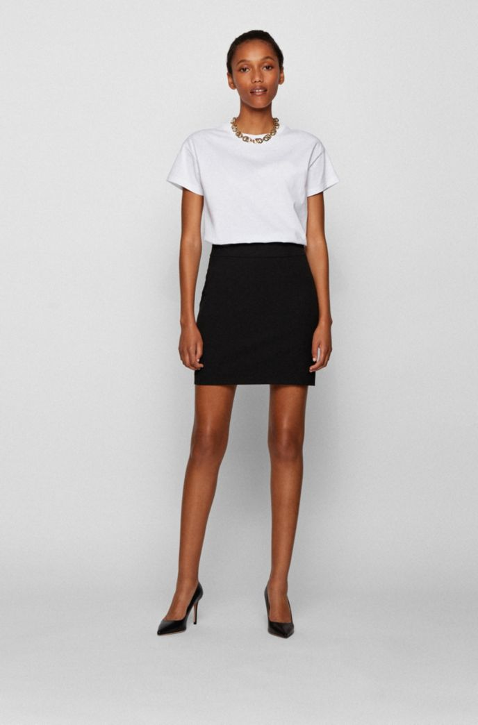 Miniskirt in Portuguese stretch twill with side zip