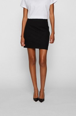 Miniskirt in Portuguese stretch twill with side zip, Black