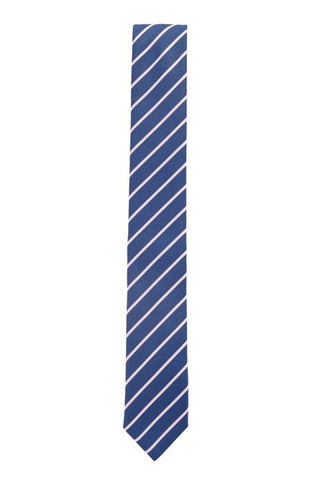 Cravate en tissu recyclé à rayures en diagonale, Bleu à motif