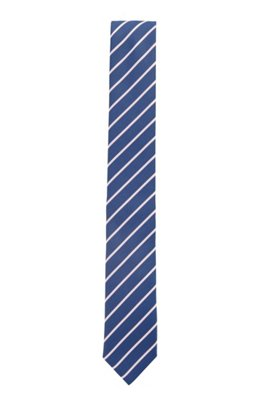 Diagonally striped tie in recycled fabric, Blue Patterned