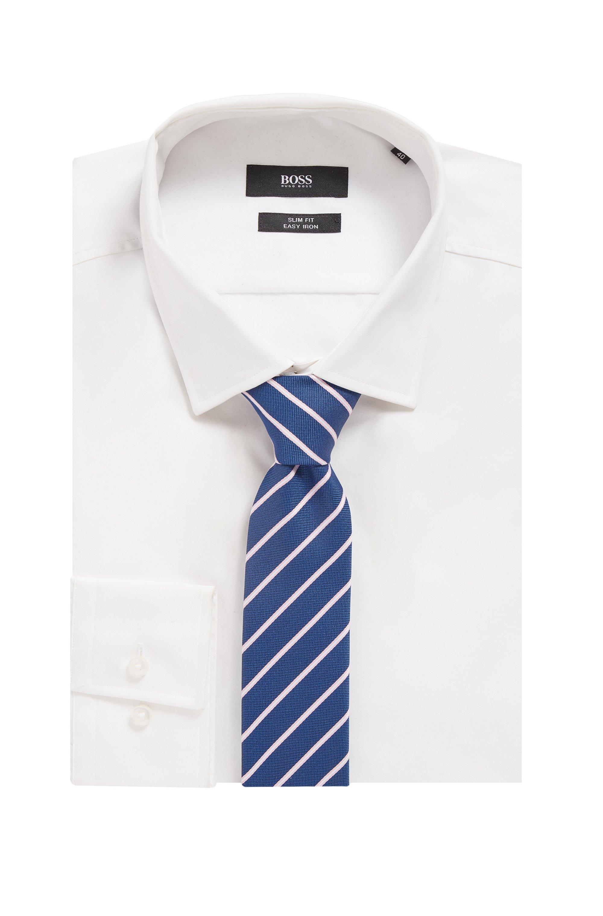 Diagonaal gestreepte stropdas van gerecycled materiaal