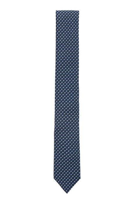 Micro-patterned tie in recycled material, Dark Blue