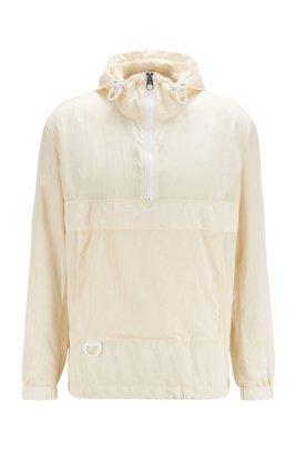 Regular-fit anorak in water-repellent crinkle fabric, White