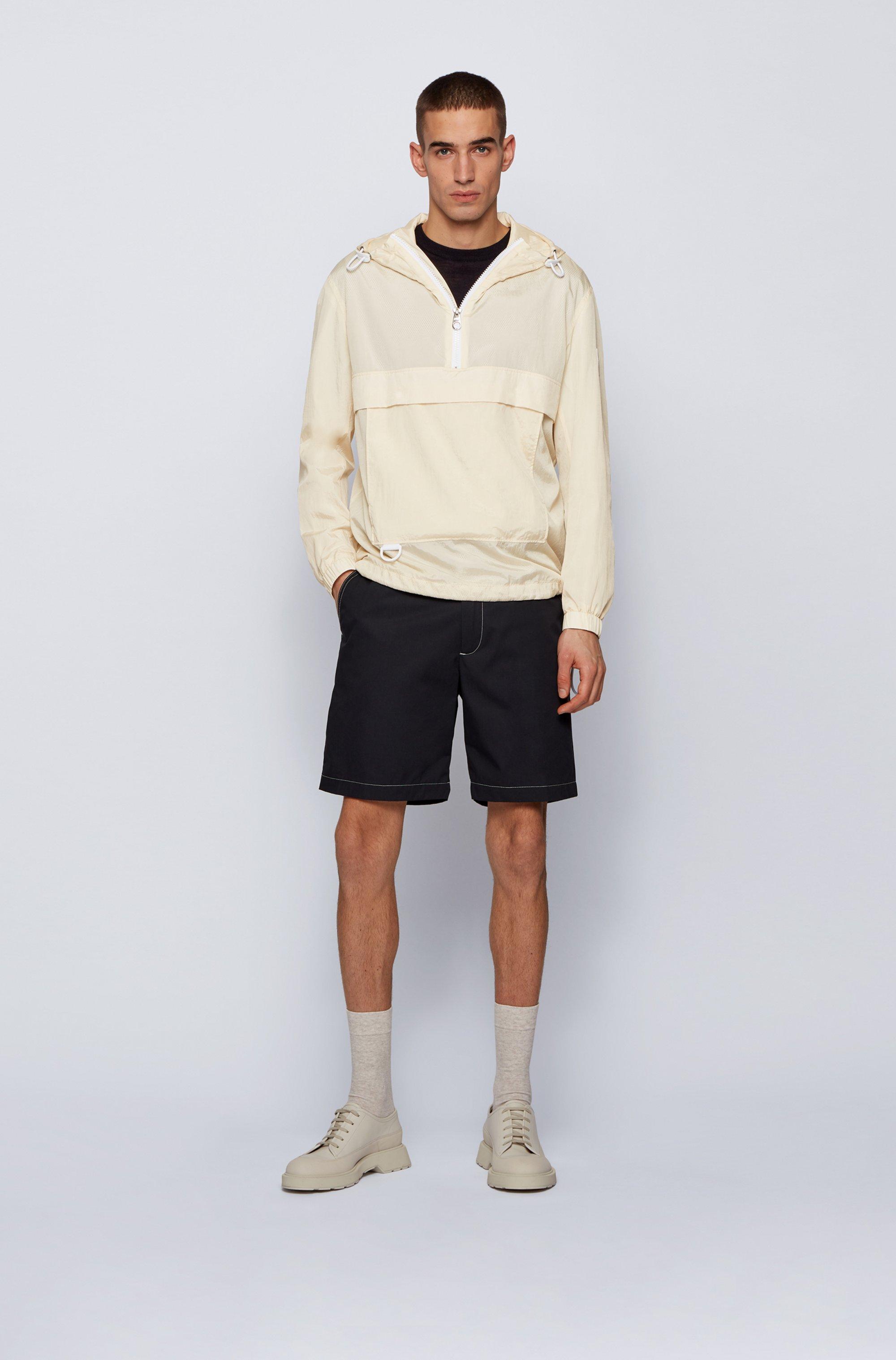 Regular-Fit Anorak aus wasserabweisendem Knitter-Stoff