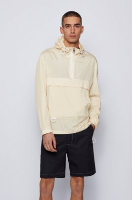 Regular-Fit Anorak aus wasserabweisendem Knitter-Stoff, Weiß