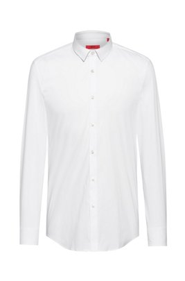 Slim-fit shirt in stretch-cotton canvas, White