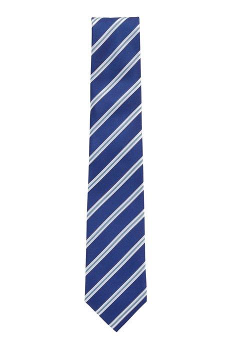 Italian-made tie in water-repellent striped silk, Light Blue