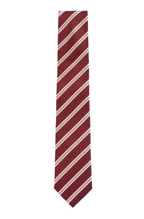 Italian-made tie in water-repellent striped silk, Dark Red