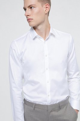 Slim-fit shirt with all-over structure, White