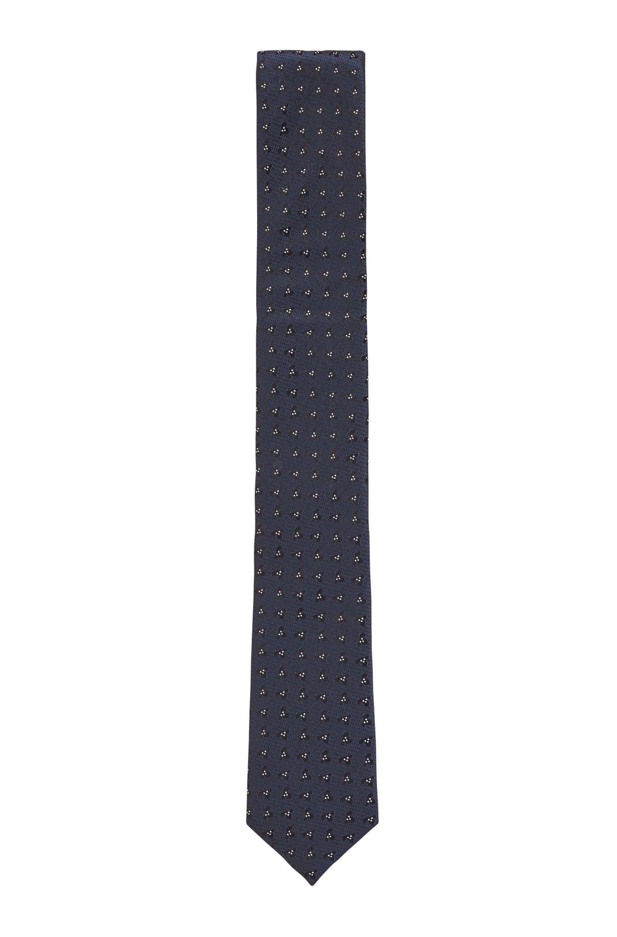 Stropdas met dessin van waterafstotende zijden jacquard, Donkerblauw