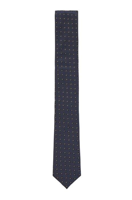Patterned tie in water-repellent silk jacquard, Dark Blue