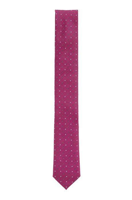 Cravatta in seta idrorepellente con stampa a pois, Rosa
